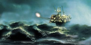 heavy storm oil platform northsea